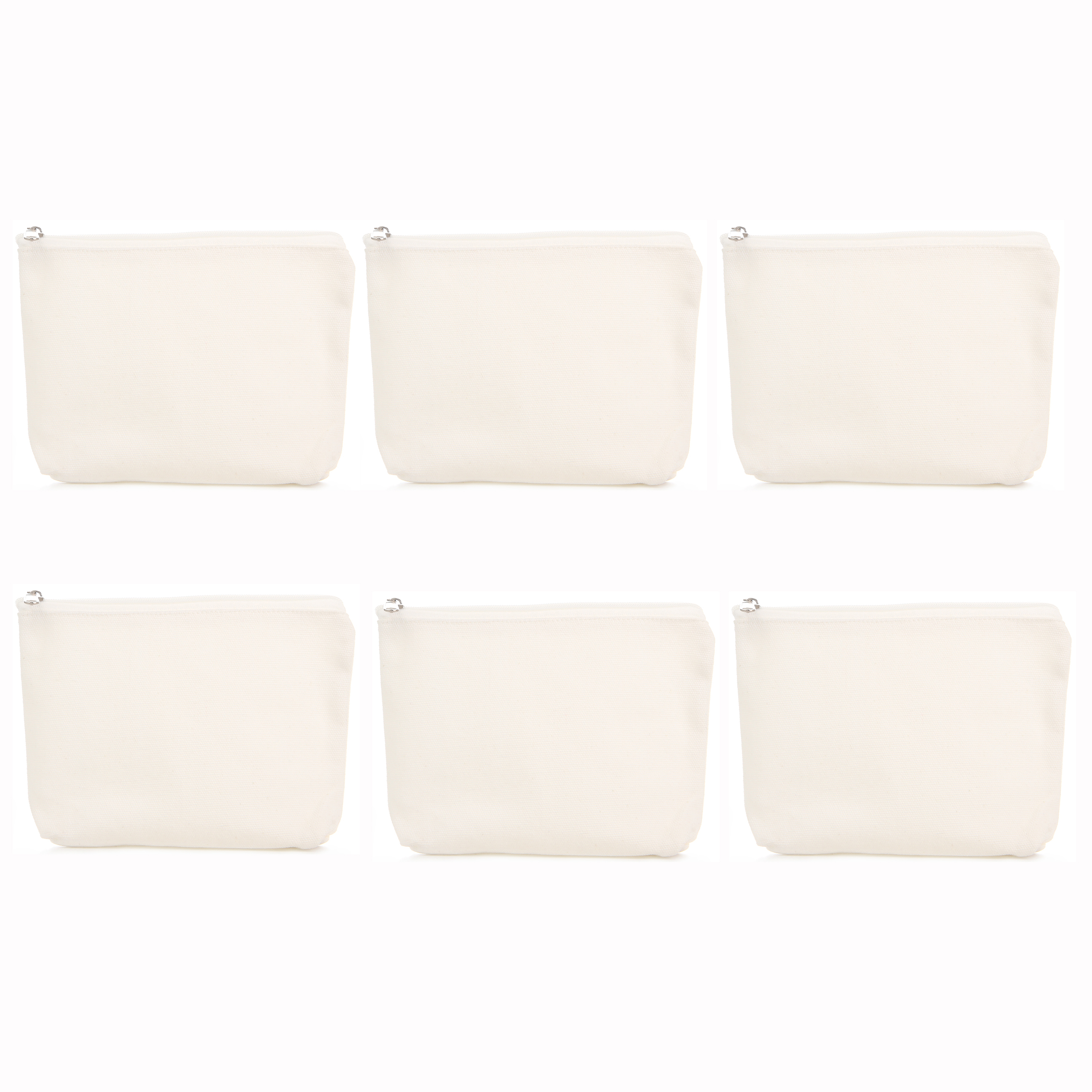 6Pcs/Lot Make-Up Bag DIY Cotton Pure White Zipper Case Canvas Simple Travel Cosmetic Bag