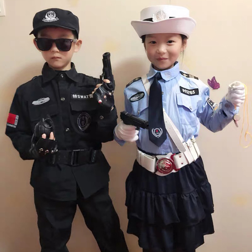 Halloween Carnival Party Kids Policemen Special Force Cosplay Costumes Cop Officer Pretend Clothing Boys Girls Christmas Gift image