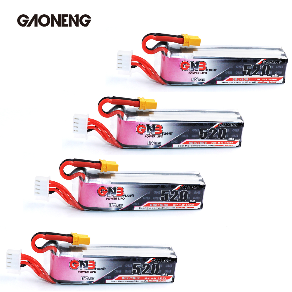 4PCS  Gaoneng GNB 520mAh 3S 11.4V 80C/160C HV Lipo Battery W/ XT30 Plug For Beta85X Micro FPV Racing Cine Whoop BetaFPV Drone