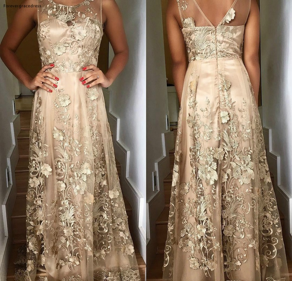 2018 Modern Sleeveless Appliques Flowers Champagne Mother of Bride Groom Dresses A Line Backless Floor Length Evening Prom Gowns Formal  118