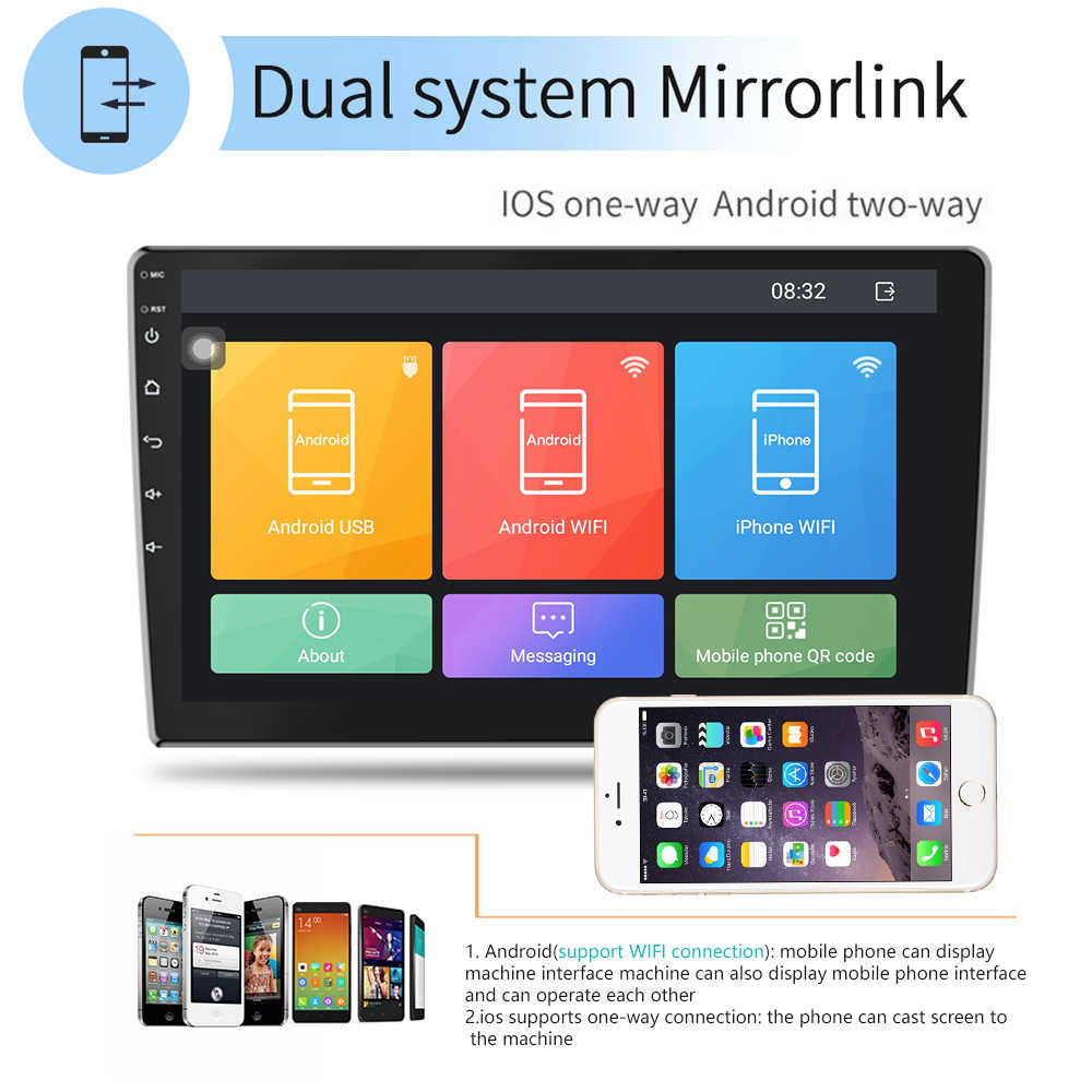 "Podofo 9/10 ""Android Auto Multimedia Speler 2din Auto Radio Audio Stereo Autoradio Gps Bluetooth Wifi Mirrorlink MP5 Speler Radio"
