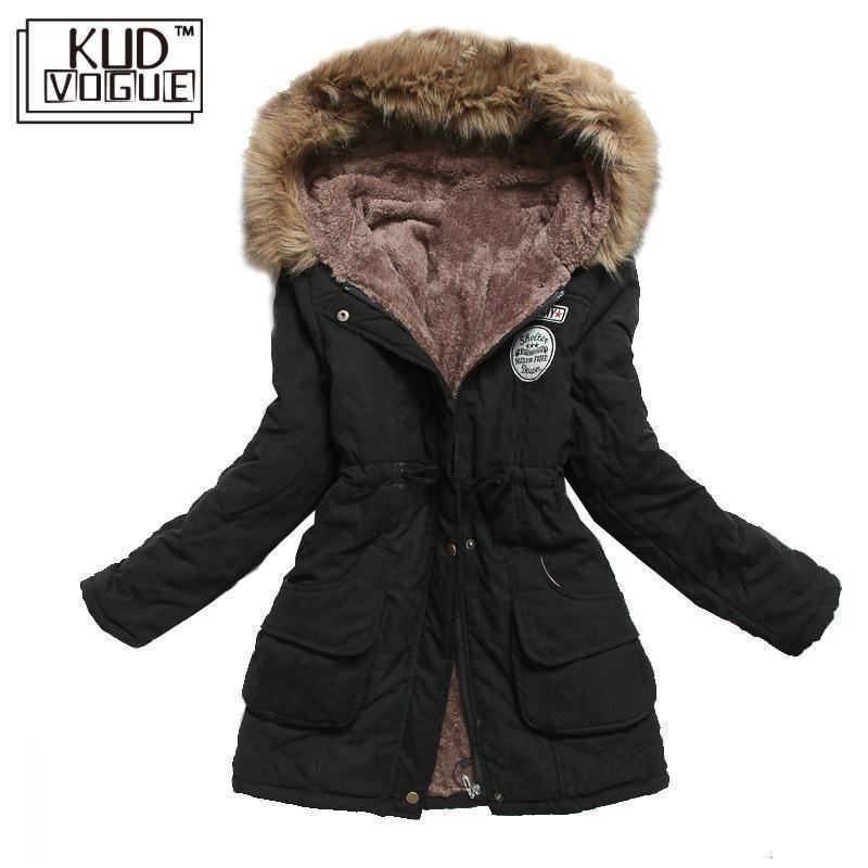 Зимняя куртка Женская Толстая теплая парка с капюшоном Mujer хлопковое Стеганое пальто Длинная Куртка размера плюс 3xl тонкая женская куртка