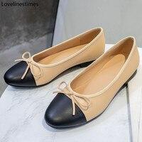 Ballett Low Heels Schuhe Frau Grundlegende 2021 Zwei Farbe Spleißen Runde Kappe Leder Bogen Klassische Tweed Tuch Arbeit Schuhe Frauen schuhe Pumpe