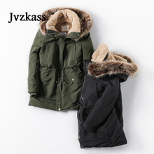 Jvzkass 2019 ladies new fashion elegant soft and comfortable classic large fur collar hooded cotton jacket Z334