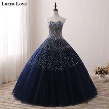 Женское винтажное бальное платье темно синее Пышное Платье с