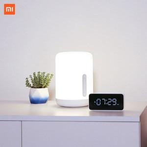 Image 1 - Xiaomi Lámpara de mesita de noche Mijia 2, lámpara inteligente con control por voz, Interruptor táctil, bombilla Led Mi home app para Apple Homekit, reloj Siri y xiaoai