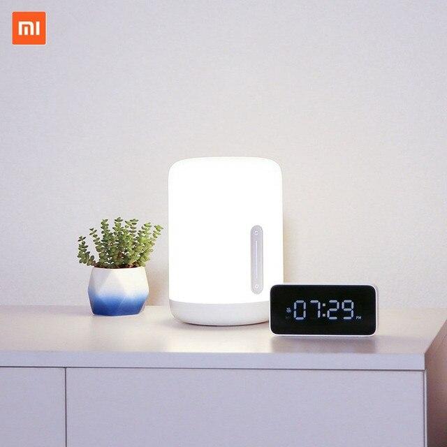 Xiaomi Lámpara de mesita de noche Mijia 2, lámpara inteligente con control por voz, Interruptor táctil, bombilla Led Mi home app para Apple Homekit, reloj Siri y xiaoai