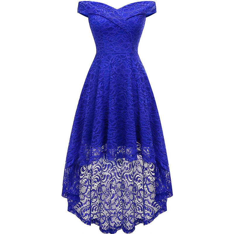 Europe And America WOMEN'S Dress New Style Double V-neck off-Shoulder Slim Fit Cocktail Will Bunk Bed Pendulum Lace Dress