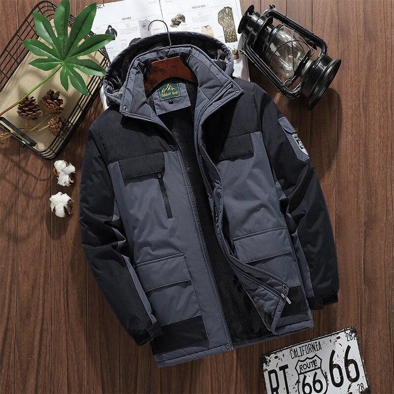 Jaqueta masculina da moda 2020 inverno mais veludo grosso com capuz casaco masculino à prova de vento e impermeável ao ar livre montanhismo roupas