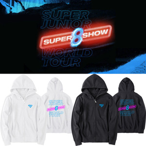 SUPER JUNIOR WORLD TOUR SUPER SHOW8 Zipper Hoodies Sweatshirt 2019 New Stylish Kpop New Arrival Contest Fashion Zip-up Hoodies