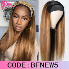 Beauty Forever Glueless Headband Wigs Brazilian Straight Wig Ombre Dark Roots Honey Blonde Remy Human Hair Wig Beginner Friendly