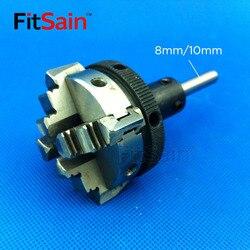 Fitsain-cztery uchwyt szczękowy D = 50mm CNC mini SELF-CENTING maially uchwyt polerka części średnica wału 8mm/10mm/12mm/14mm