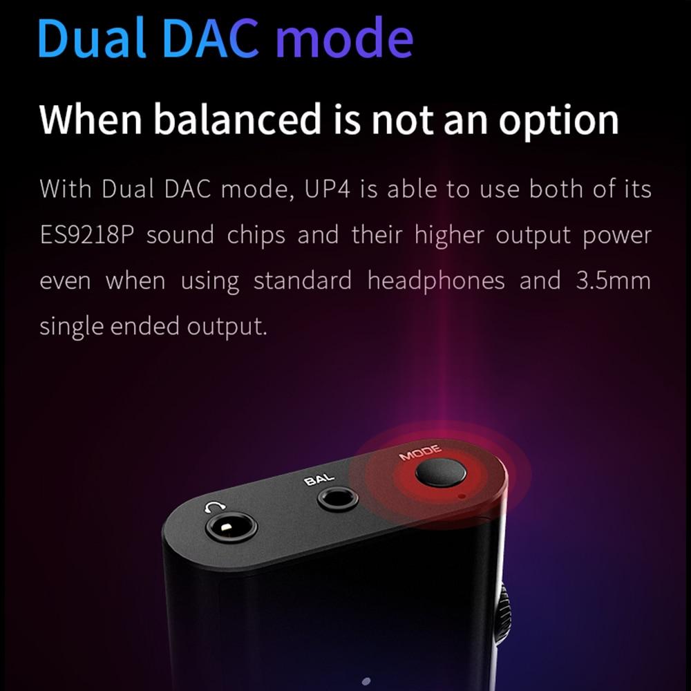 Shanling UP4 CSR8675 Bluetooth 5.0 USB DAC ES9218P amplificateur haute résolution LDAC LHDC APTX HD AAC SBC Knoowles Microphone type-c 3.5/2.5 - 3
