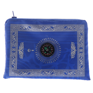 Image 5 - New Style Muslim Prayer Rug Polyester Portable Braided Mats Simply Print with Compass In Pouch Travel Home Mat Blanket 100*60cm