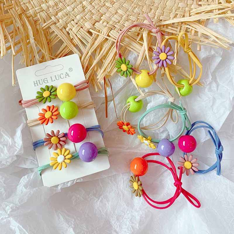 Cute Elastic Hair Band Daisy Hair Ring Candy Color Flower Hair Ties Ponytail Holder Hair Rope Girls Hair Accessories