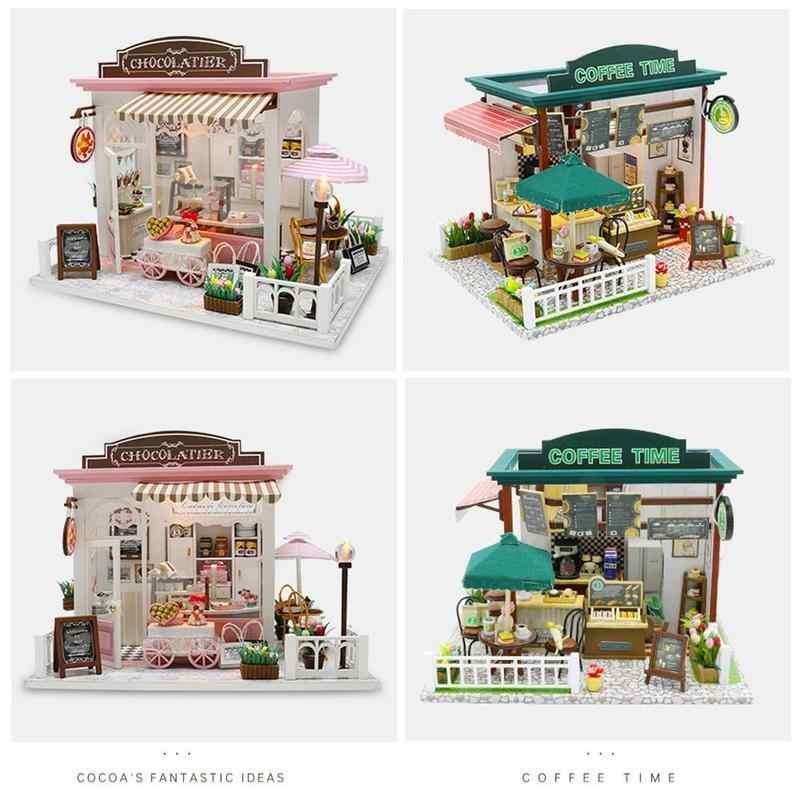 Thu Nhỏ Bằng Gỗ Cà Phê Thời Gian Shop Nhà Búp Bê Diy Nhà Búp Bê Có Nội Thất Đồ Chơi Dành Cho Trẻ Em Xây Dựng Mô Hình Cô Gái Món Quà Sinh Nhật