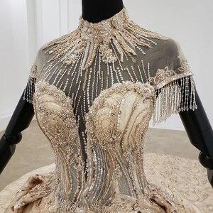 Image 5 - HTL1257 2020 ארוך שמלות הערב גבוה צוואר קצר שרוול ואגלי טאסל applique דובאי ערב שמלות платье на выпускной חדש