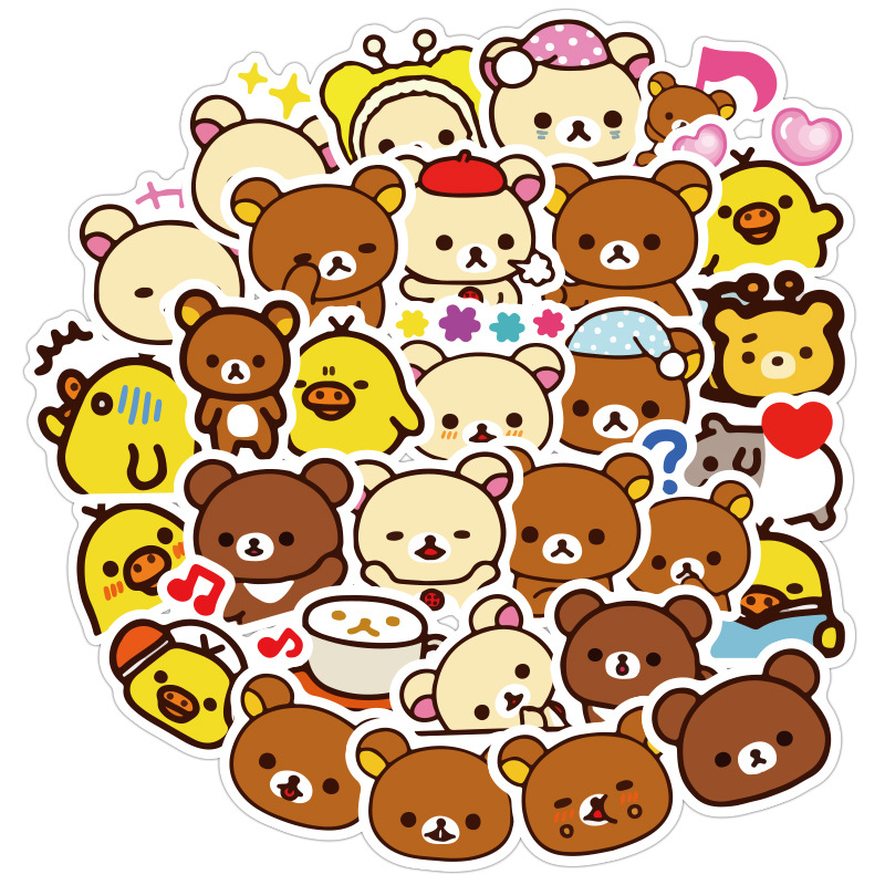 Kawaii Rilakkuma Bear Cute Cartoon Waterproof PVC Stationery Stickers Scrapbooking DIY Diary Luggage Album Stick Label