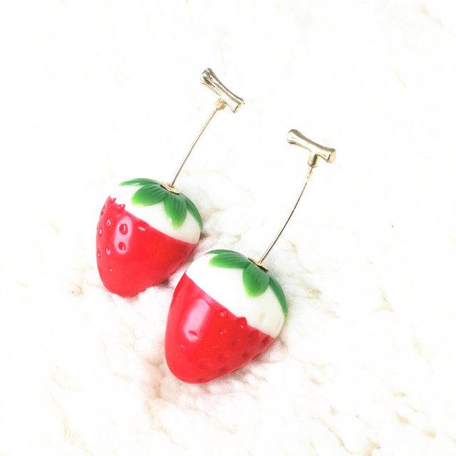 Red Cherry Gold Drop Earrings 3