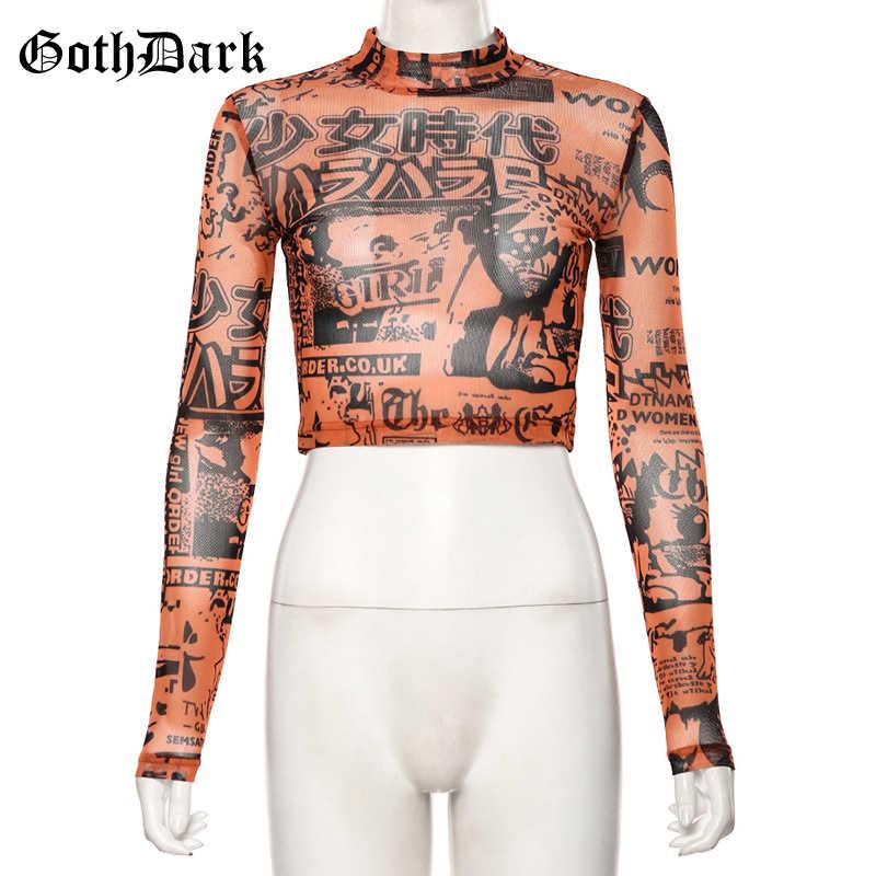 Goth Dark Schwarz Vintage Harajuku Gohtic frauen T-shirt Orange Drucken Langarm Cropped Herbst 2019 Gestellte Weiblich T-shirts Chic