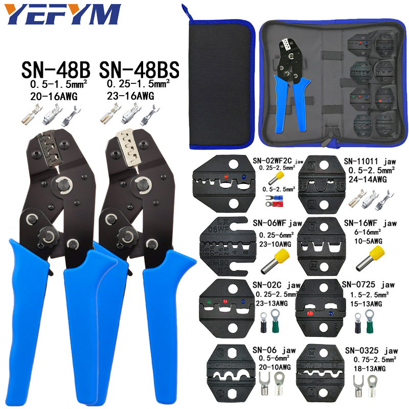 Crimping pliers set SN-48B SN-48BS 8 jaw kit for 2.8 4.8 6.3 VH2.54 3.96 2510/tube/insulation terminals electrical clamp tools