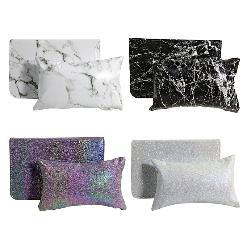 4 Colors Fashion Nail Art Hand Pillow Set Marble Blending Hand Pillow Soft PU Leather Nail Art Mat Foldable Nail Art Tools