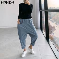 New 2020 Women Casual Pants Elastic High Waist Solid Drop Crotch Harem Pants Plus Size Fashion Long Trousers VONDA Loose Bottoms