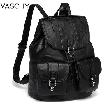 VASCHY Fashion Backpack Purse for Women Chic Drawstring School Bags with Two Front Pockets Soft Leather Backpack for College zipper front backpack with tassels