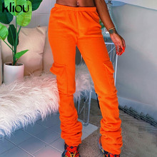 Kliou Fleece Solid Pockets Sweatpants Women Autumn Winter Streetwear Casual Pants Workout Active Wear Trousers Female Outfits