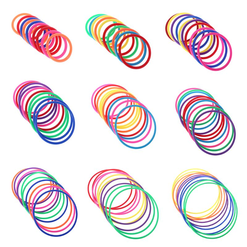 10 Pcs Plastic Toss Rings Target Throw Carnival Backyard Park Games Kids Intelligence Development Educational Exercise Toy E65D