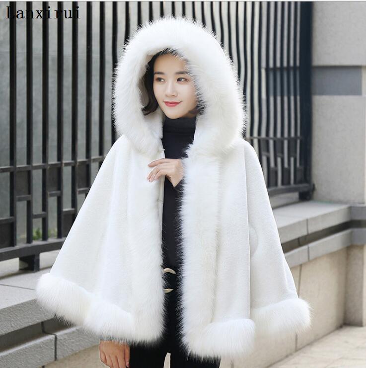 Thick Warm Mink Fur Coat Women Plus Size Winter Long Faux Fox Fur Overcoat Casual Jacket Female Outerwear Hooded Coat