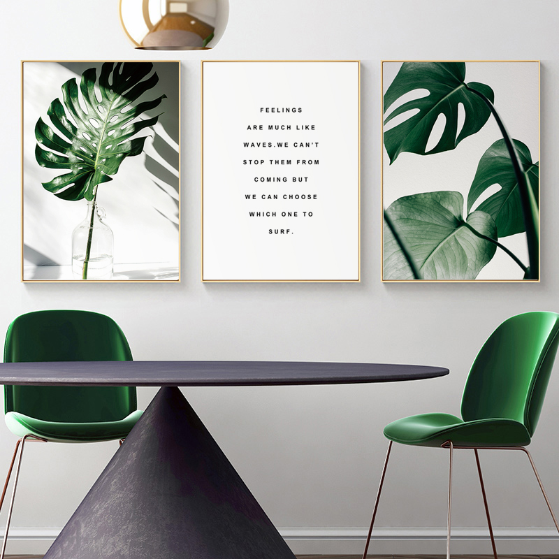 Hc522d91dd9d444669851116df881413bk ART ZONE Nordic Canvas Painting Modern Prints Plant Leaf Art Posters Prints Green Art Wall Pictures Living Room Unframed Poster
