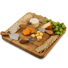 Bamboo Cheese Board Wooden Cutting board with Handle Knives Sets Cooking Tools Cheese Knife Cheese Slicer Fork Scoop Cutter