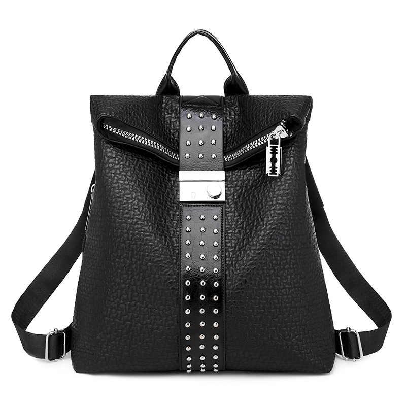 Berühmte Marke Designer Frauen PU Leder Niet Rucksack Weibliche Casual Schultern Tasche Teenager Schule Tasche Mode frauen Taschen 0P15