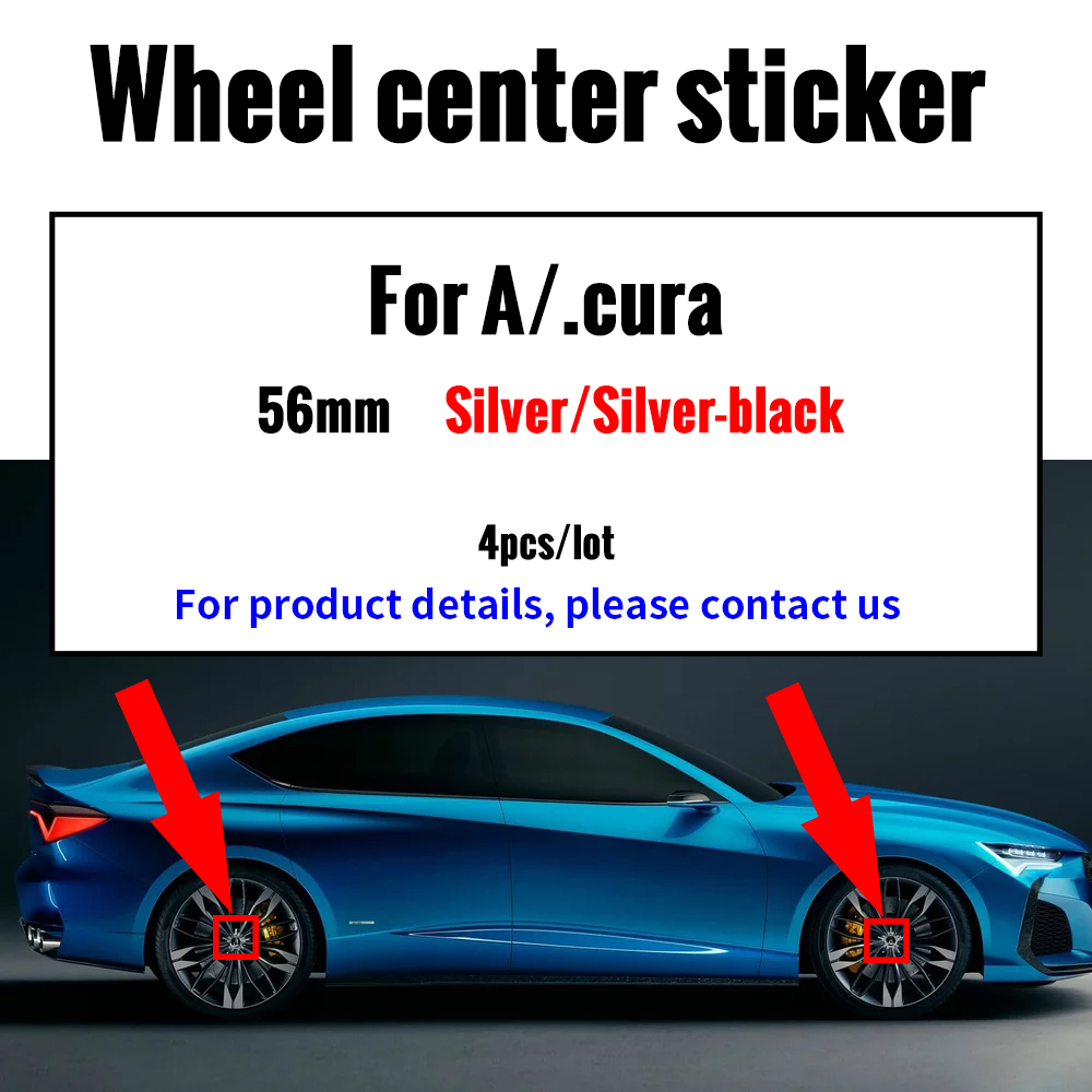 4pcs 56mm 65mm Car Tire Wheel Badge Cap Emblem Sticker For Acura MDX ILX RDX TLX Decoration Auto Accessories