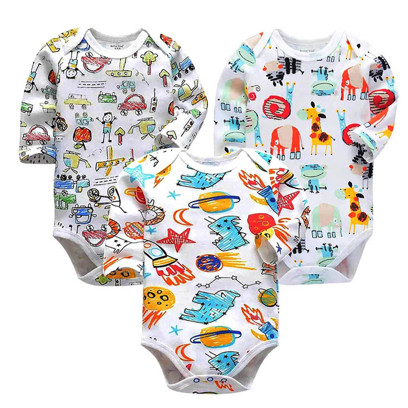 3 pcs lot Baby Bodysuit Newborn Body Baby Long Sleeve Underwear Infant Boys Clothes Baby 39 s Sets 100 Cotton in Bodysuits from Mother amp Kids