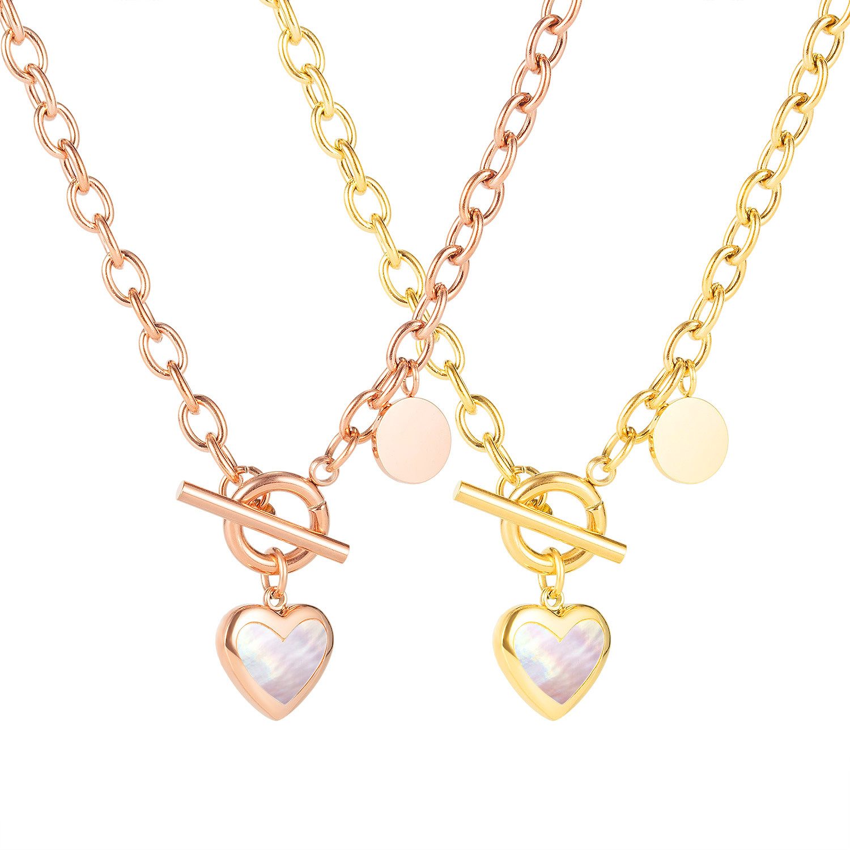 Cyue Minimalist Cold Wind Love Titanium Steel Necklace Niche Design Light Luxury Buckle Clavicle Chain For Women