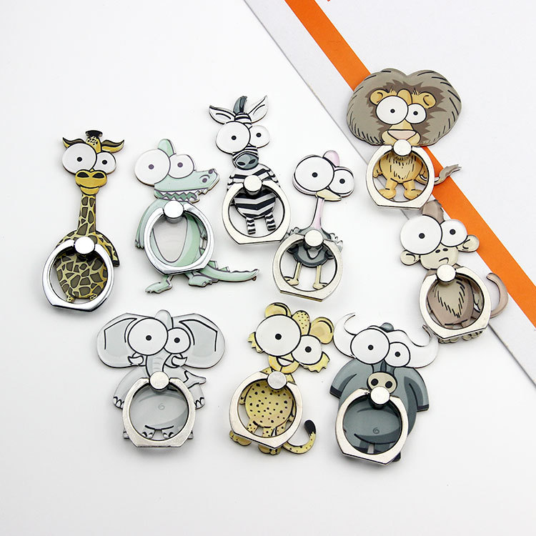 Universal Cute Animal Metal Finger Ring Mobile Cell Phone Cartoon Hand Stand For IPhone 6s 7 8 X XS Bracket Portable Grip