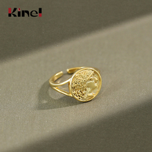 цена на Kinel Adjustable 925 Sterling Silver 18K Gold Ring Round Coin Portrait Open Size Finger Silver Ring Ladies Gift Jewelry