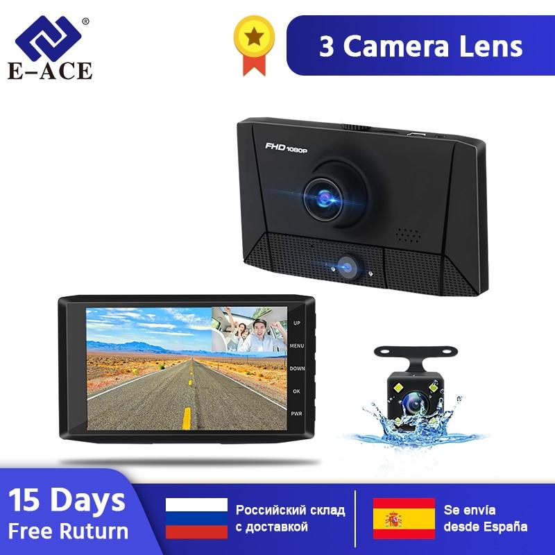 E-ACE B13 DVR 4.0 Inch Car Camera 1080P Auto Recorder FHD Dash cam Night Vision car dvrs 3 Camera lens DashCam Video Recorder