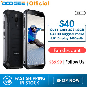 Upgrade 3GB+32GB DOOGEE S40 MTK6739 Quad Core Android 9.0 4G Network Rugged Mobile Phone IP68 5.5inch Display 4650mAh 8.0MP NFC(China)
