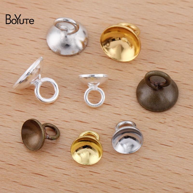 100 pieces Bronze Round  spring Clasp 8mm
