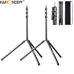 K&F Concept 2Packs 79 inch Aluminium Reversible folding Tripod Light Stands for Portrait Product Photography Softboxes Umbrellas
