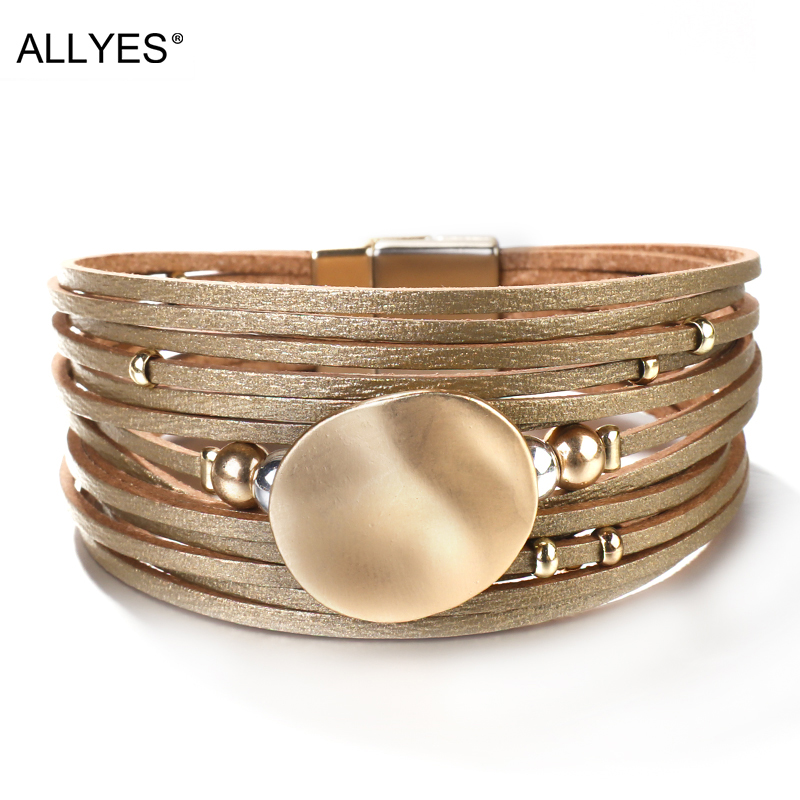 ALLYES Metal Round Charm Leather Bracelets For Women 2020 Fashion 14 Strips Boho Multilayer Wide Wrap Bracelet Femme Jewelry