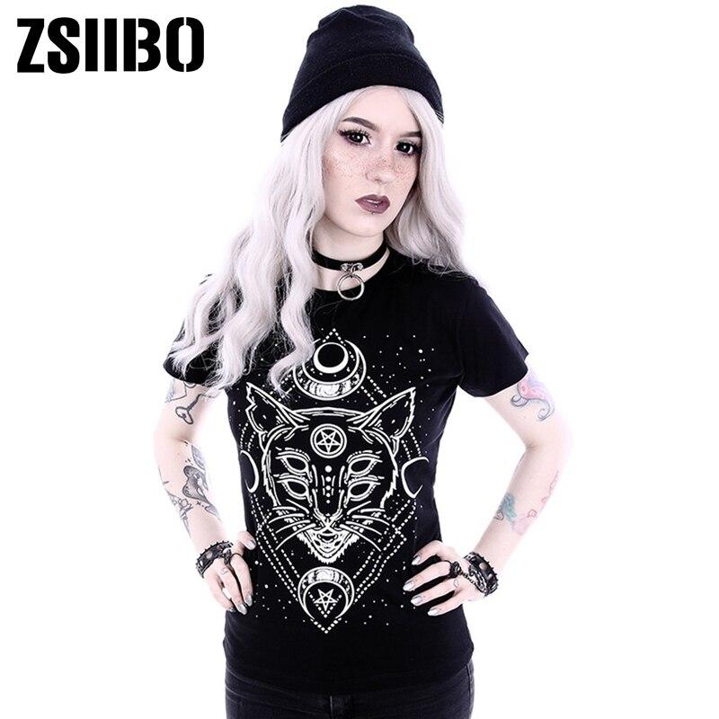2019 T Shirt Woman Gothic Star Punk Cat Print Tops Galaxy Short Sleeve Cat Print Black Loose Punk  Casual Femme Female