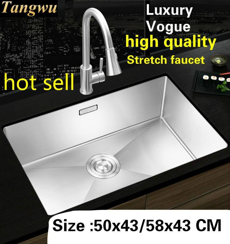 Livraison gratuite ménage cuisine manuel évier simple creux stretch robinet de qualité alimentaire 304 en acier inoxydable vente chaude 50x43/58x43 CM