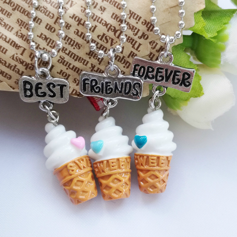<font><b>3</b></font> Pieces / Set Best <font><b>Friend</b></font> <font><b>BFF</b></font> <font><b>Necklace</b></font> <font><b>for</b></font> Women Ice Cream Pendant <font><b>Necklace</b></font> Women Friendship <font><b>BFF</b></font> Jewelry Children's Gift image