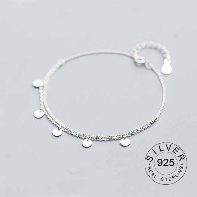 100% real. 925 Sterling silver Fine Jewelry Multi-Layers Polished Round Coin Chain Bracelet women's