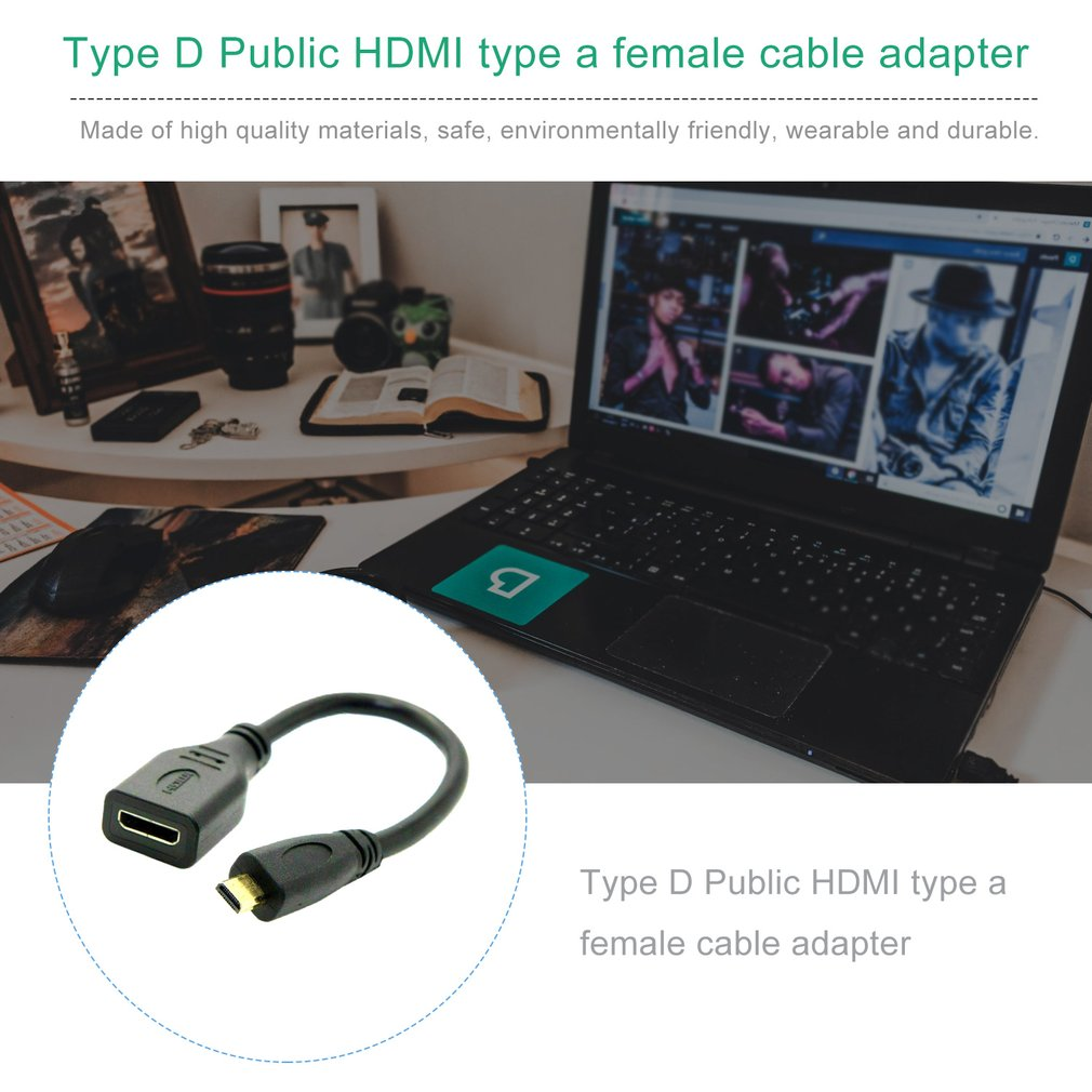 Micro HDMI Type D Male To HDMI Type A Female Cable Adapter Converter Connector Convertor For Tablet Pc Tv Mobile Phone
