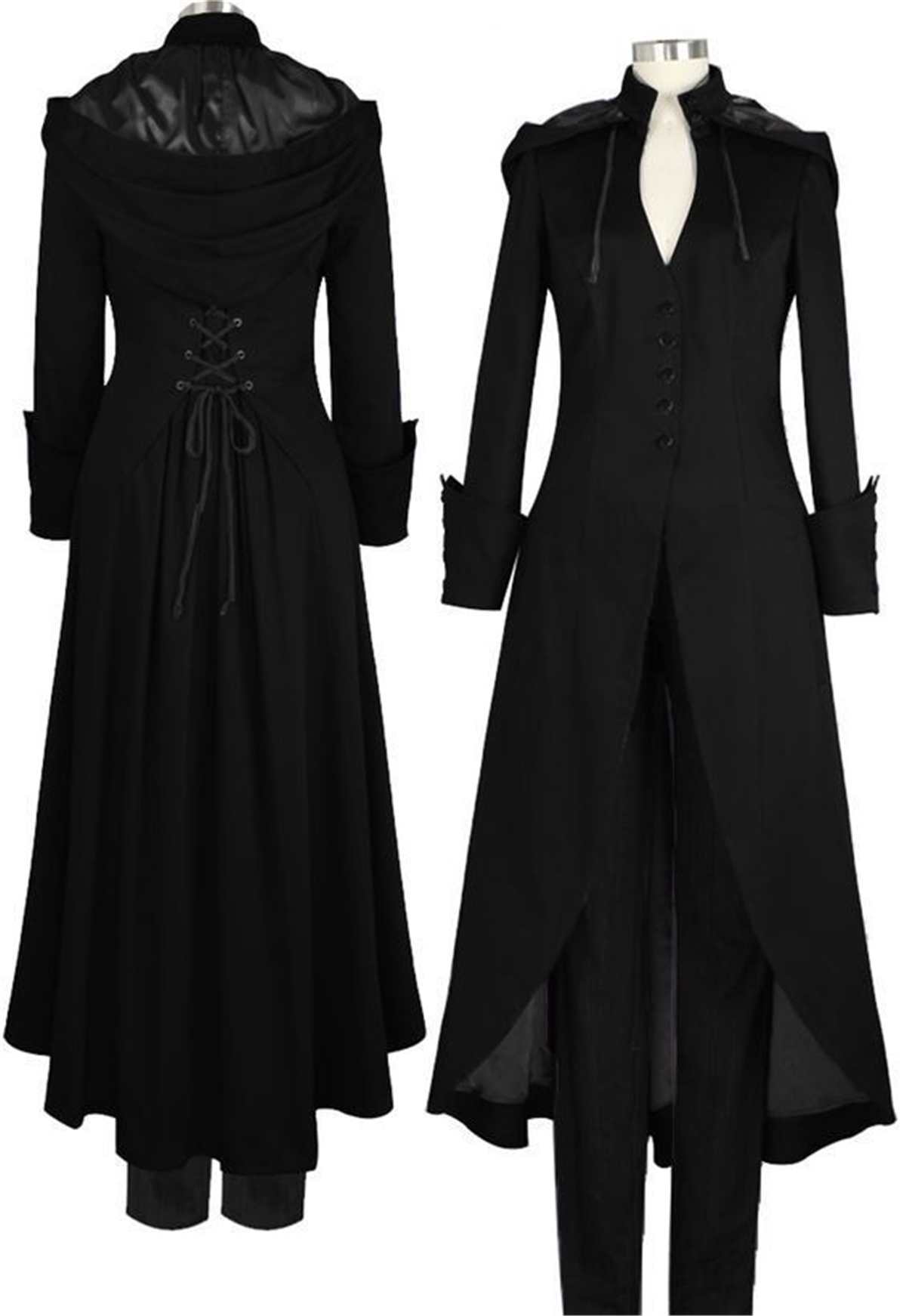 2019 Womens Vintage Gothic Victorian Medieval Long Sleeves Slim Hoodie   Trench   Tuxedo Coat Halloween Cosplay Costume Plus Size